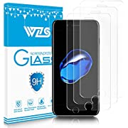"WZS iPhone 6, 6S, 7, 8 Screen Protector, [3-Pack] Premium Tempered Glass with 99.99% HD Clarity and 3D Touch Accuracy, Tempered Glass Screen Protector for iPhone 8, iPhone 7,iPhone 6, 6S [4.7"" inch]"