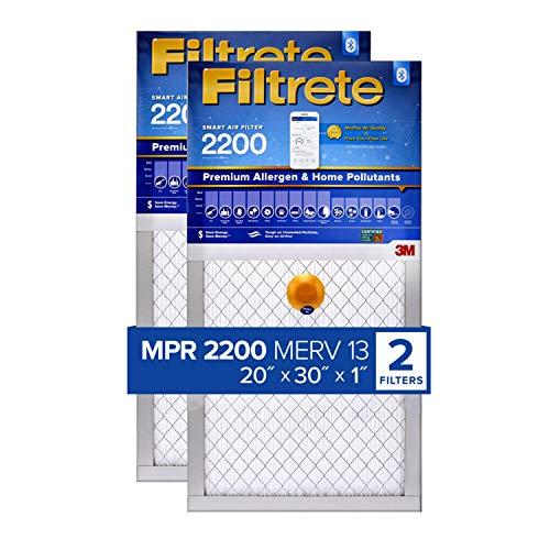 Filtrete MPR 2200 20x30x1 Smart Replenishable AC Furnace Air Filter, Premium Allergen & Home Pollutants, 2-Pack