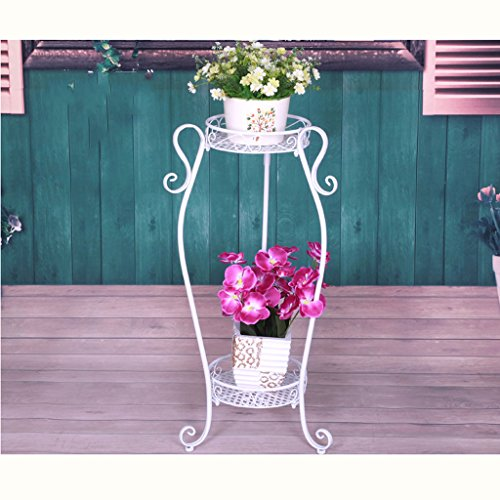 Edge to Porte-Fleurs Plancher en Bois de Style européen Floor Floor Bonsai de Deux étages Balcon Balcon Living Room Poteaux intérieurs et extérieurs (Couleur : White 67cm)
