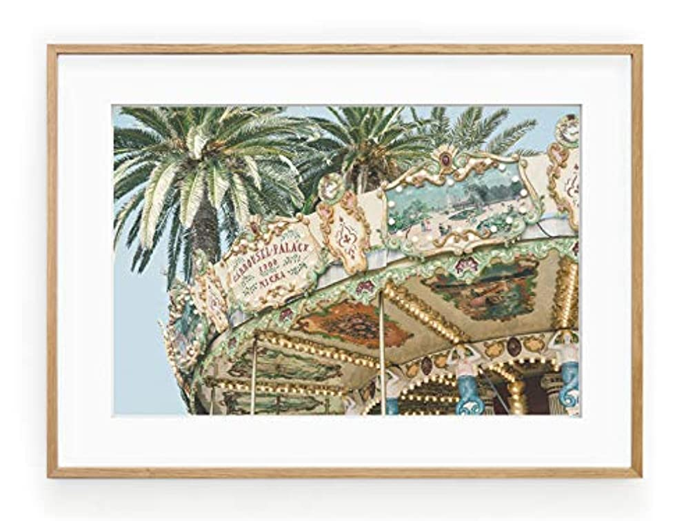 Carousel Vintage Solid Oak Natural Frame with Mount, Multicolored, 50x70