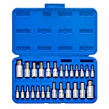 "Neiko 01144A Tamper-Proof Hex Bit Socket Set, 26 Pieces | SAE 5/64-9/16"", Metric"