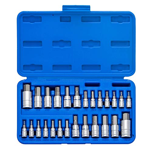 "Neiko 01144A Tamper-Proof Hex Bit Socket Set, 26 Pieces | SAE 5/64-9/16"", Metric 2-14MM"