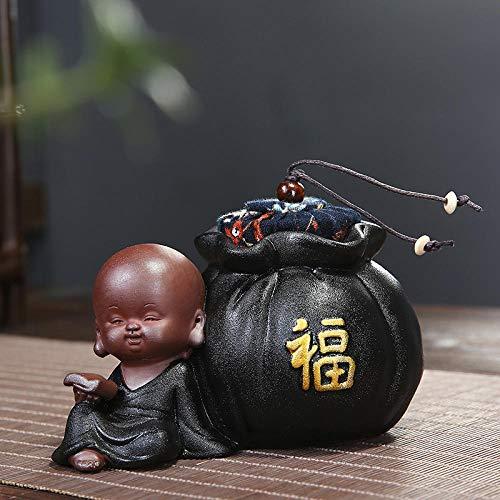 Accessori per il set da tè Teiera piccola monaco ceramica nera piccola sabbia viola tenuta stivale pentola di ceramica scatola di imballaggio del tè-sacchetto di stoffa nera monaco benedizione jnkkd3