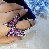Simplicidad con Estilo Anillo Ajustable para Mujer Anillo Encantador de Mariposa para Mujer Anillos Abiertos para Mujer Cubic Zirconia Jewelry Gifts-Resizable_A, S-P, a, Redimensionable