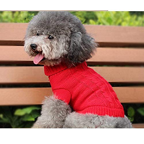 FidgetGear XXXS/XXS/XS Knitted Dog Sweater Cat Puppy Clothes Jumper for Chihuahua Teacup Red XXS