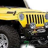Topline Autopart Universal 7' Round Chrome Housing DRL White LED Sealed Beam Halogen Headlights H4 Conversion For H6014 H6015 H6024