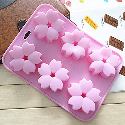 JJDN - Stampo in silicone con fiori di ciliegio rosa, per torte, biscotti, cioccolatini, zuppe