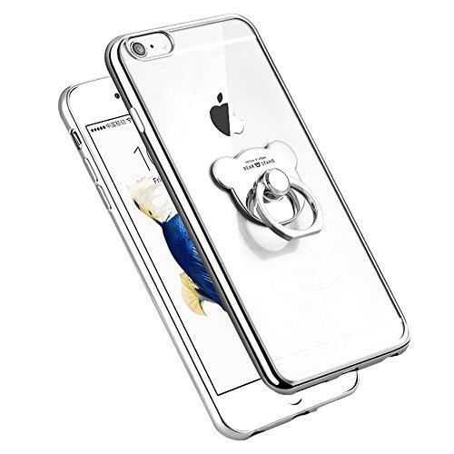 ETSUE pour iPhone 5/5S/SE Coque de Téléphone en Souple,Charmant Mode Doux TPU Case Housse de SiIicone Étui pour iPhone SE Coque Anneau Ours Transparent Motif Créative Plaquage Coque iPhone 5/5S/SE