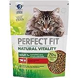 Perfect Fit Natural Vitality - Croquettes pour chat adulte, riche en boeuf & poulet, 6 sacs de 1kg (6 x 1kg)