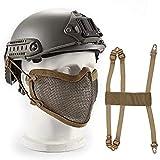 Wwman WWAN Airsoft Mesh Masque Tactique Militaire Bas du Visage Masque de Protection Tactique Demi Maille en Acier Masque Visage...