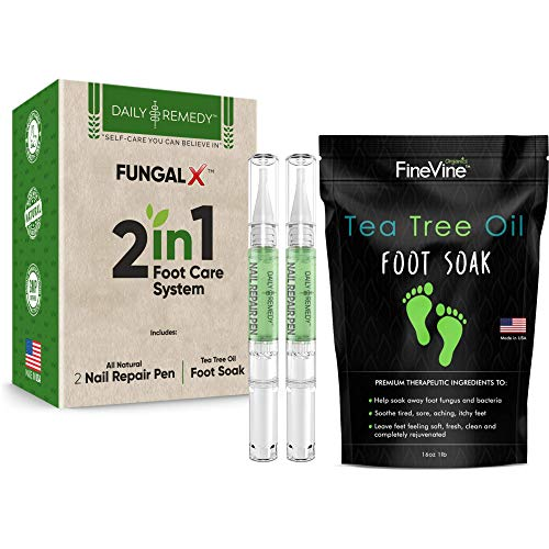 2 in 1 Foot Care Treatment Kit - Made in USA - Includes Tea Tree Oil Foot Soak and Nail Repair Pen to Get Rid of Toenail Fungus, Athletes Foot, Stubborn Foot Odor Scent, Fungal, Softens Calluses