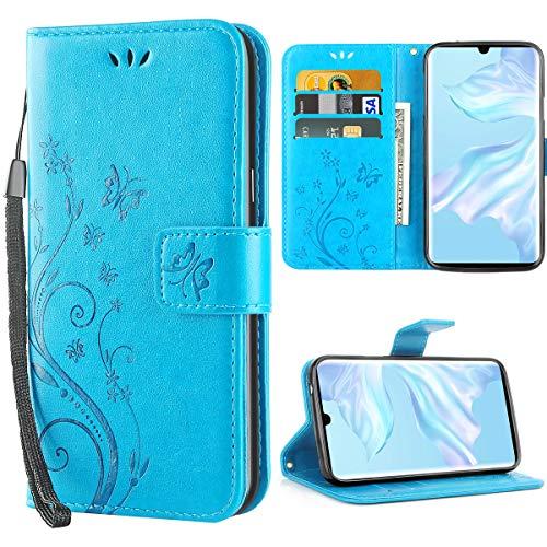 iDoer Huawei P30 Pro hülle,Solide Butterfly PU Ledercase Tasche Schutzhülle Huawei P30 Pro flipcase Magnetverschluss Handyhülle im Wallet Bookstyle - Blau