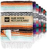 Handcrafted Large Mexican Blankets, Artisanal Handwoven Serape Blanket, Authentic Falsa Blanket, Beach Blanket, Camping Blanket, Picnic Blanket, Outdoor Blanket, Boho Throw Blankets, Mint Orange