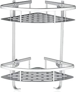 Onigen Aluminum Bathroom Corner Shower Shelf with 2 Tiers Shampoo Basket Holder Kitchen Adhesive Suction Shower Storage Caddy [No Drilling]