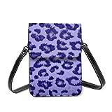 Bolso de hombro pequeño, piel con estampado de leopardo, color morado, bolso bandolera para teléfono celular, cartera ligera para mujeres y niñas