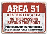 A Homim Area 51 Metal Wall Sign Plaque Warning, Alien, Conspiracy Theory - 8x12 inch
