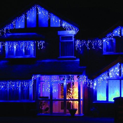 LEDwholesalers 16.4-Feet 120-LED Icicle Christmas Holiday Lights with White  Wire, Blue - LED Christmas Icicle Lights: Amazon.com