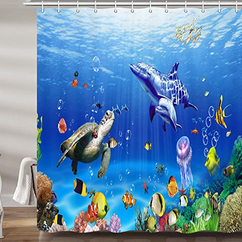 Ocean Underwater Marine Life Shower Curtain, Sea World Animals Tropical Fish Dolphin with Turtles Coral Waterproof Kids Bathroom Decor Polyester Fabric Bath Curtains, Hooks Included, 69X70 Inches