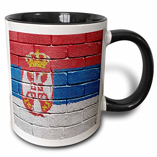 3dRose Nationalflagge Serbien & auf die Wand Gemalt Serbian-Two Ton Becher, Keramik, Schwarz, 10.16cm x 7,62x-Uhr