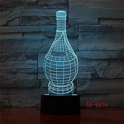 Jiushixw nachtlampje, acryl, 3D, met afstandsbediening, kleurverandering, tafellamp in de vorm van een wijnglas, vaas, kerstcadeau, kinderen, 1 paar tafellampen, wit