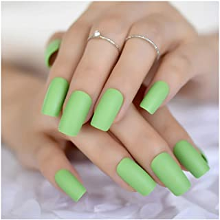 VIKSON INTERNATIONAL New Arrival 24 Pcs/Set of Green Matte finish French Bridal Wedding Flowers False Nails Nail Art Design Acrylic Full Fake Nail Tips with Glue