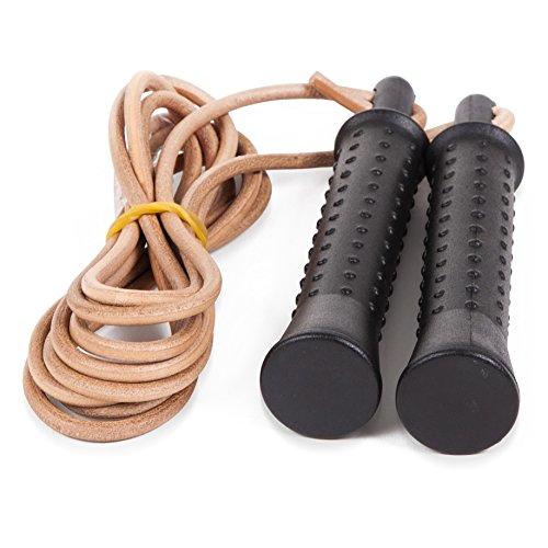 Sport-Thieme Boxer-Springseil aus Leder + 2X Zusatzgewichte a 190g | Speed-Rope für Boxen, Crossfit, Rope Skipping, Fitness | Lederseil, Bruchsicherer Kunststoff | 2,8 m verstellbare Länge