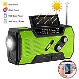 Greenbang Portable Notradio, Handkurbel selbst angetrieben/solarbetriebene NOAA AM FM Radio mit LED-Taschenlampe, Handy-Ladegerät & 2000mAh Power Bank für Camping Wandern Outdoor Survival (Green)