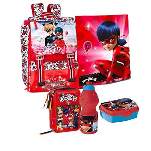 Miraculous Ladybug 5 Teile Set Schulrucksack Rucksack Federmappe Tasche mit Sticker-von-Kids4shop Federtasche Schultasche