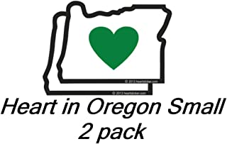 Heart in Oregon Sticker - Small 2 Pack | 2.5 Inch OR State Shaped Label | Apply to Mug Phone Laptop Water Bottle Decal Cooler Bumper | Green Heart Oregon Portland Blazers Timbers Ducks Beavers Stag