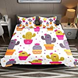 Juego de funda de edredón de 3 piezas, diseño de cactus, tamaño individual, juego de funda de edredón de microfibra suave con fundas de almohada para niños, niñas y hombres (sin edredón)