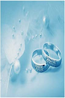 Polyester Garden Flag Outdoor Flag House Flag Banner,Wedding Decorations,Engagement Wedding Rings with Pearls on Blue Dreamy Background,Light Blue White,for Wedding Anniversary Home Outdoor Garden Dec