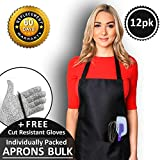 CHEFLUX [12pk Premium Professional Black Restaurant Aprons with 2 Large Pockets [Bulk] Chef Cooking Bib Apron for Kitchen Waitress [Unisex] Men Women [53 g Lightweight] BBQ Painting Stylist Artist