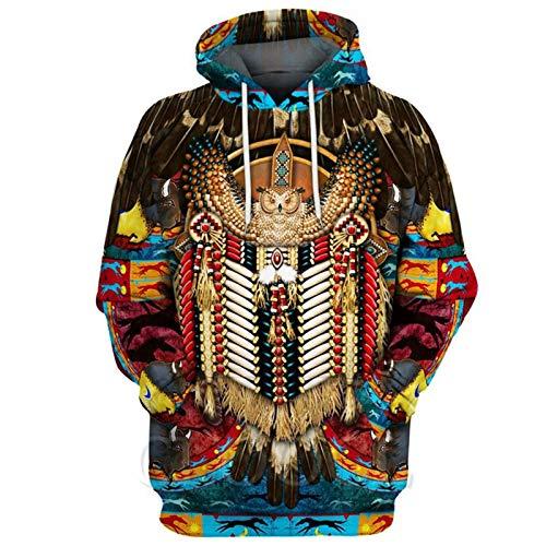 Native Indian Sudaderas con Capucha con Estampado 3D Sudaderas Hombres Mujeres Sudadera con Capucha Otoño...