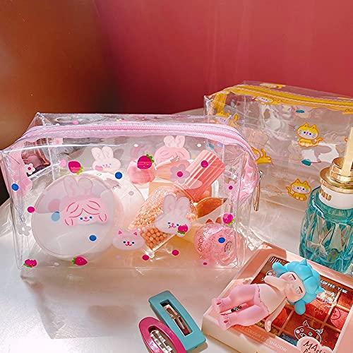 Estuche grande y bonito estuche para lápices, bolsa de maquillaje Kawaii, suministros escolares, transparente para guardar papelería, gato, transparente, color (conejo)