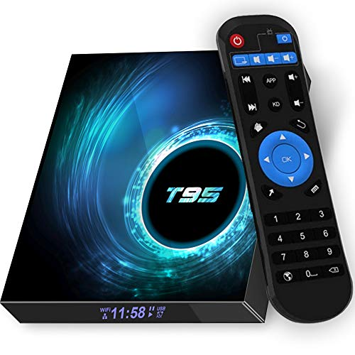 Android TV Box Upgrade10.0 4GB RAM 32GB ROM,T95 Android TV Box Allwinner H616 Quad-core 64bit,Support 2.4/5GHz Dual WiFi Bluetooth 5.0, 6K HD/ 3D/ 10/100 LAN Ethernet,H.265 Android Box Media Players Streaming