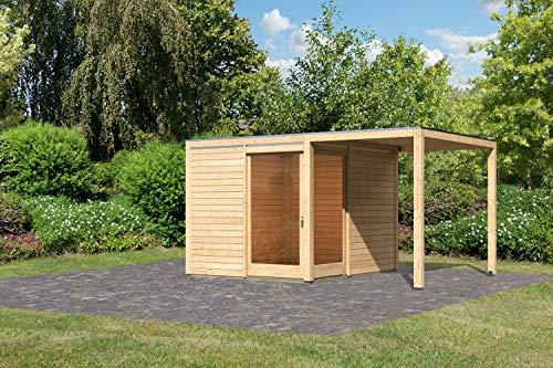 Unbekannt Karibu Gartenhaus QUBU ECK Set Natur 304x304cm + Anbaudach 2,00m Holzhaus 28mm