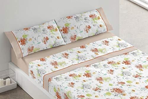 Burrito Blanco Juego de Sábanas 686 con Diseño de Flores para Cama Individual de 90x190 hasta 90x200 cm/Juego de Cama 90, Color Beige