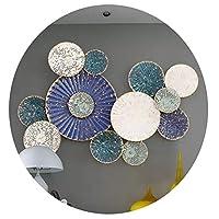ラウンド金属壁の装飾 素朴なアイアンホームデコレーション、ヨーロッパの三次元の装飾、ノー総会、簡易インストールするには、ウォールマウント (Color : Blue)