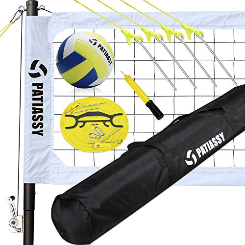 Patiassy Portable Professional Outdoor Volleyball Net Set with Adjustable Height Poles, Winch System, Volleyball with Pump and Carrying Bag for Backyard Beach, White