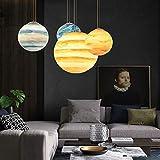 WEM Lampadari della novità, Lampadario a nove pianeti cosmico Post Modern Creative Coffee Restaurant Bar Resina rotonda Earth Moon Plafoniera,Urano,D30cm