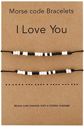 JF JEWELRY 2 Piece Pinky Promise Bracelets for Best Friend Couple Family Adjustable Mini Beads product image