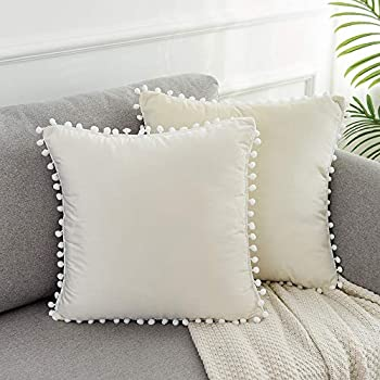 WLNUI Set of 2 Soft Velvet Ivory White Pillow Covers 18x18 Inch Square Decorative Cute Pom Poms Throw Pillow Covers Cushion Case for Sofa Couch Home Farmhouse Decor