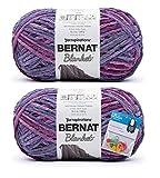 Bernat Blanket Yarn - Big Ball (10.5 oz) - Purple Sunset - 2 Pack Bundle with Bella's Crafts Stitch Markers