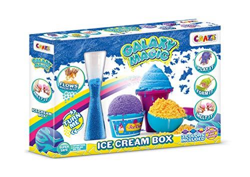 CRAZE Galaxy Magic Ice Cream 150g Schaumartige Knetmasse mit Schmelzeffekt Galaxienstaub Knete in DREI Farben + Zubehör 23884, bunt