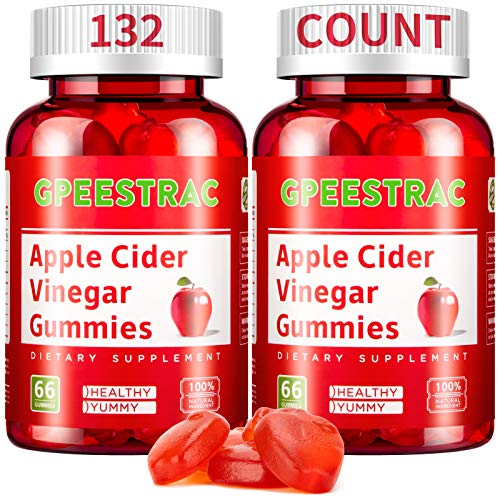Apple Cider Vinegar Gummies for Detox Cleanse Weight Loss and Immunity Support, GPEESTRAC ACV Vitamins with The Mother Raw Organic Unfiltered Vitamins B9 B12(2 Pack, 132 Gummies)