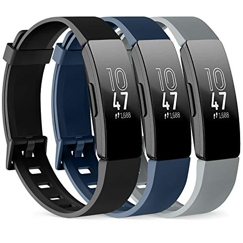 PACK 3 Silicone Bands for Fitbit Inspire HR & Fitbit Inspire 2 & Fitbit Inspire & Ace 2 Replacement Wristbands for Women Men Small Large (Small: for 5.5'-7.9'wrists, Black+Navy Blue+Gray)