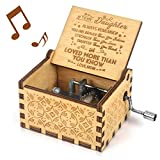 You are My Sunshine Music Box Gift for Daughter from Mom Vintage Wooden Engraved Inspirational Quotes Hand Crank for Birthday Musical Box (DM)