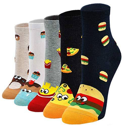 Damen Socken aus Baumwolle Lustige Bunte Socken, Frauen Damen Thermal Socken Witzige Socken Karikatur Tier Socken Weihnachtssocken, 5 Paare,Essen Muster, EU 37 - 43