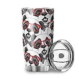 Toomjie - Botella de agua de acero inoxidable con aislamiento al vacío, resistente a las manchas, taza de viaje con tapa, 20 oz (animal panda), acero inoxidable, Blanco, 600 ml