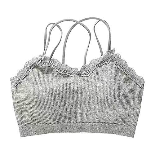 WEATLY Lace Tube Top Unterwäsche Versammelt Eingewickelt Brustgurt Brustpolster Mädchen Sportweste Schönheit Gurt Zurück (Farbe : Grau)